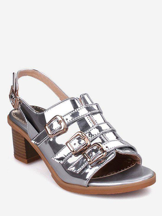 Plus Size Multi Buckles Block Heel Chic Sandals - SILVER 40