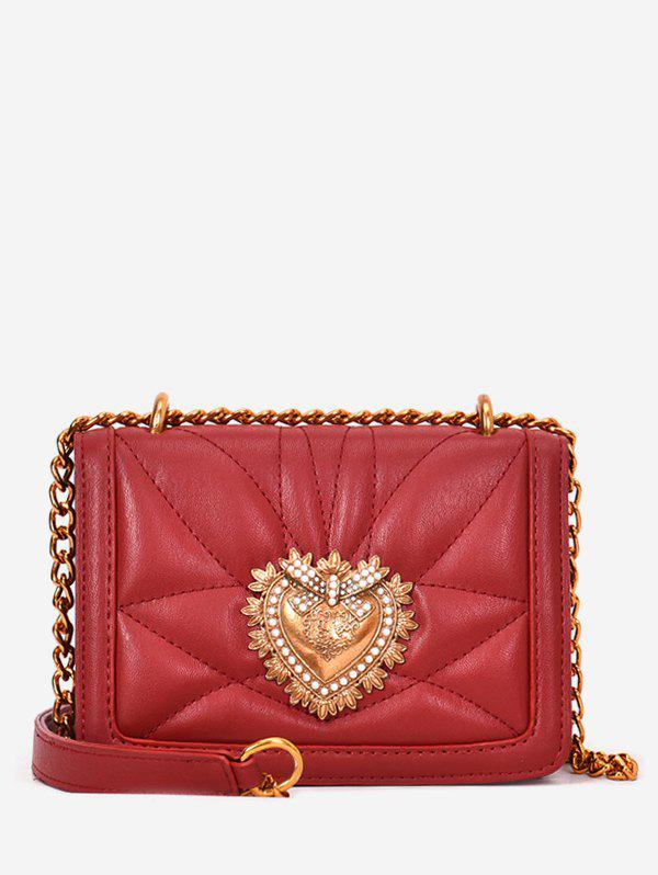 PU Leather Quilted Metallic Flapped Sling Bag - RED