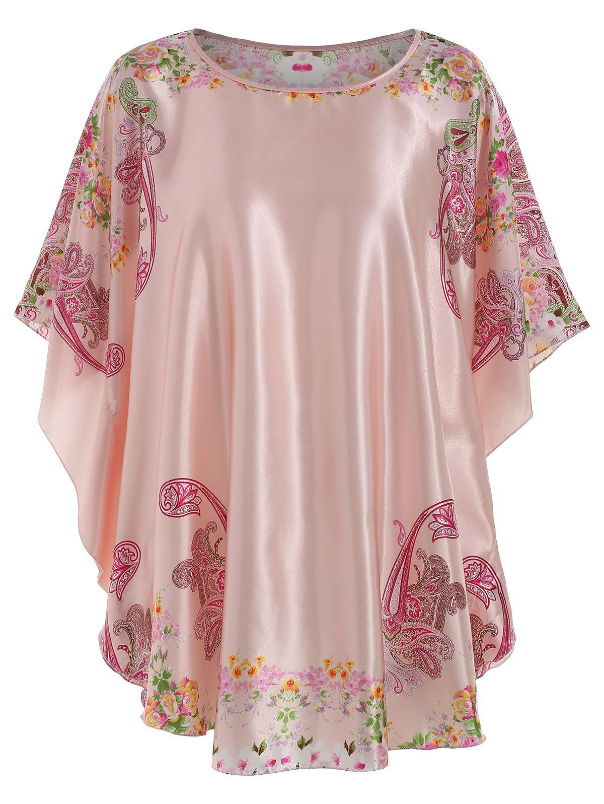 Satin Floral Print Nightdress - PINK ONE SIZE