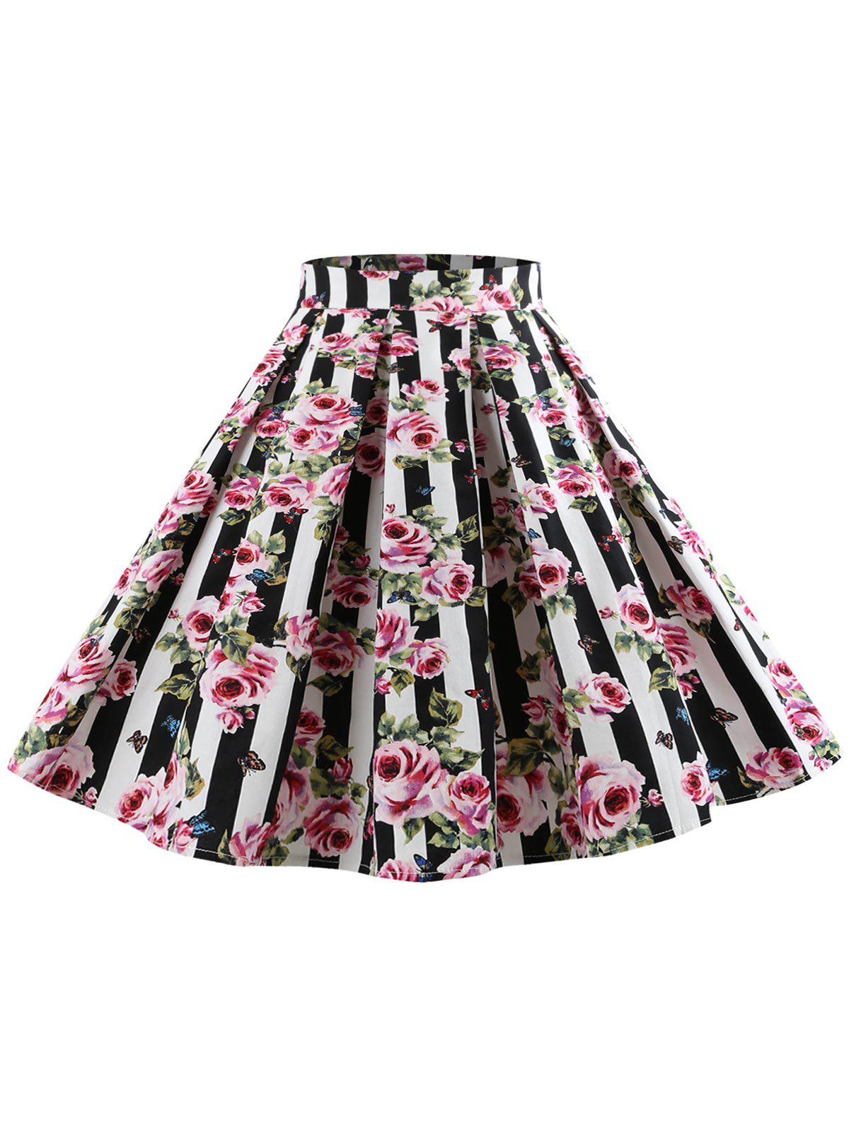 High Waist Floral Print Skirt - multicolor M