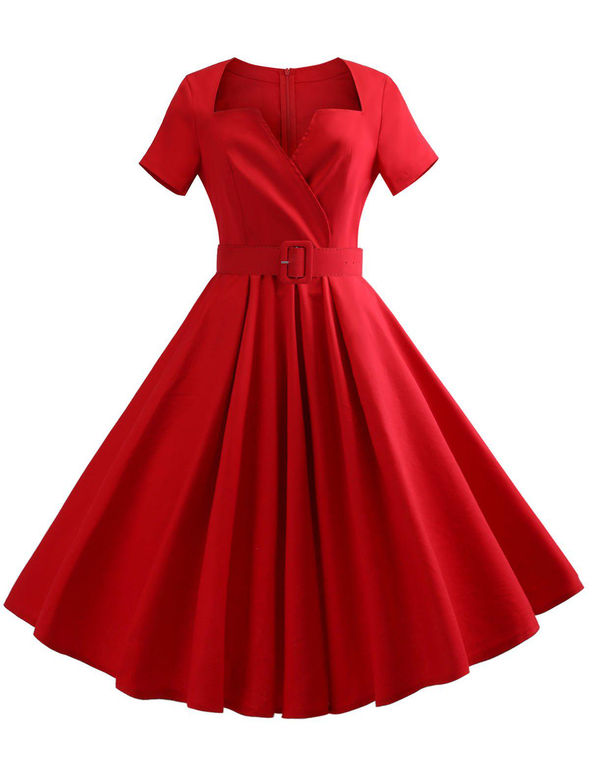 V Neck Swing Dress with Belt - LAVA RED L