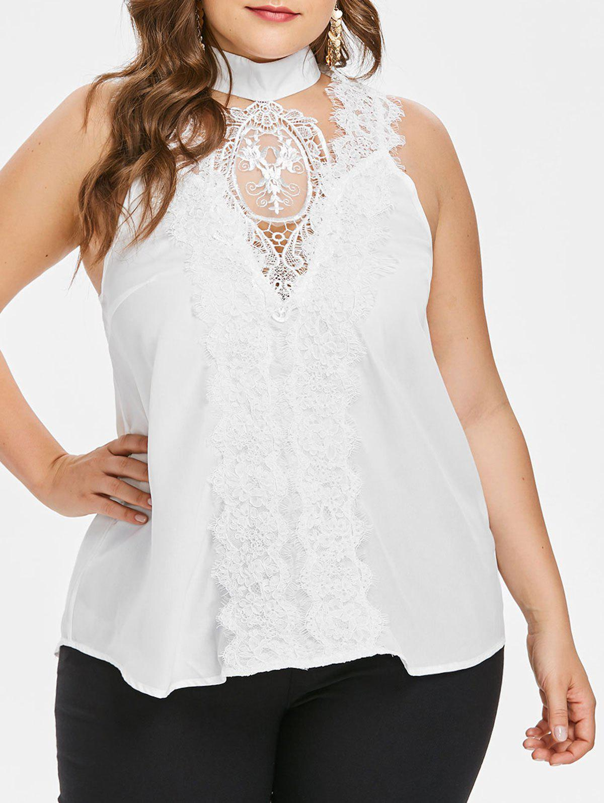 Plus Size Cut Out Lace Tank Top - WHITE 4X