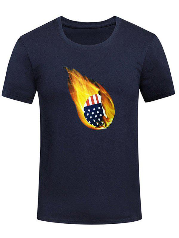 American Flag Print Fire Ball Short Sleeve Summer T-shirt - MIDNIGHT BLUE 2XL
