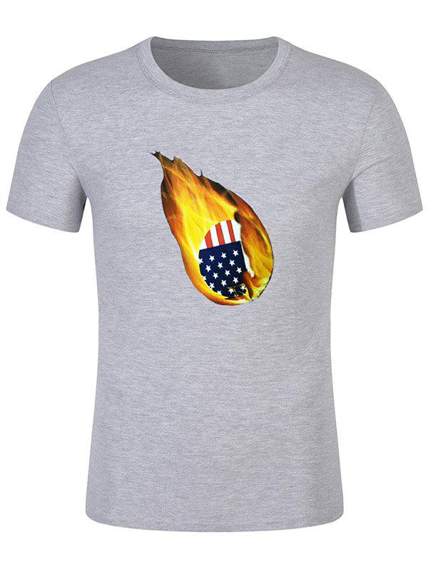 American Flag Print Fire Ball Short Sleeve Summer T-shirt - GRAY CLOUD M