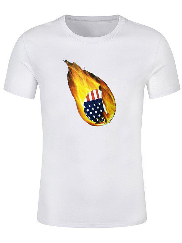 American Flag Print Fire Ball Short Sleeve Summer T-shirt - WHITE XL