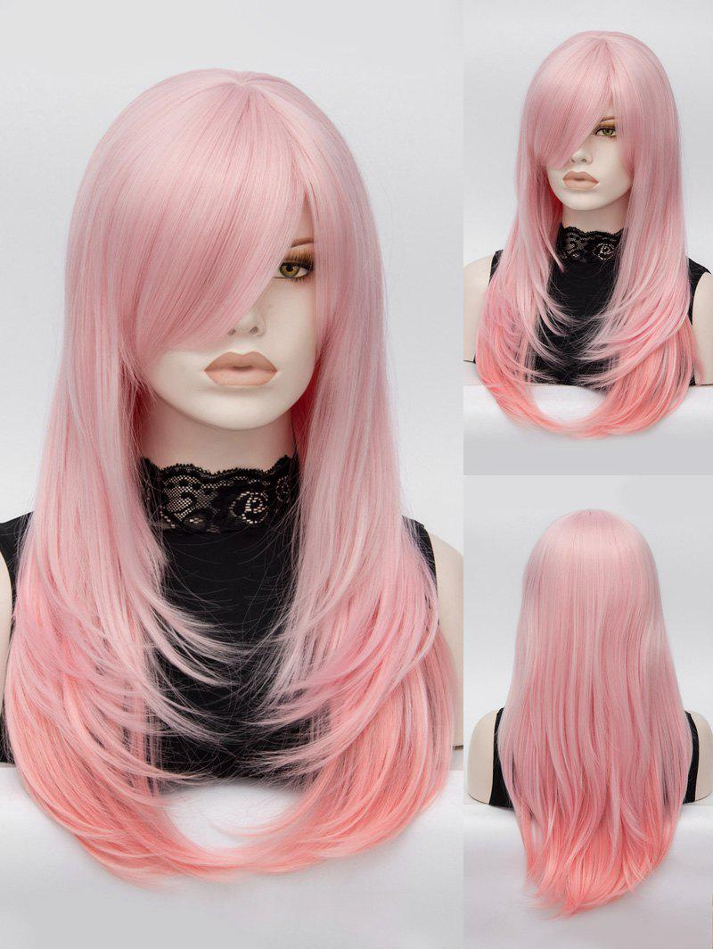 Long Inclined Bang Layered Colormix Straight Lolita Synthetic Wig - LIGHT PINK