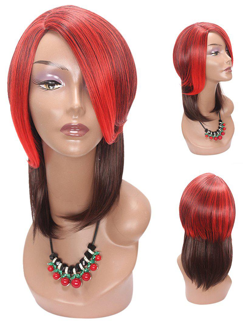 Medium Side Parting Colormix Layer Straight Party Synthetic Wig - multicolor