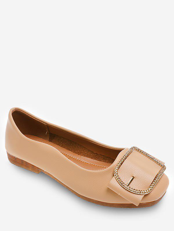 cheap sale deals cheap sale with paypal All Purpose Slip On Casual Metal Buckled Flats - Beige 36 popular sale online sale sale online cheap sale authentic 0yURdTf