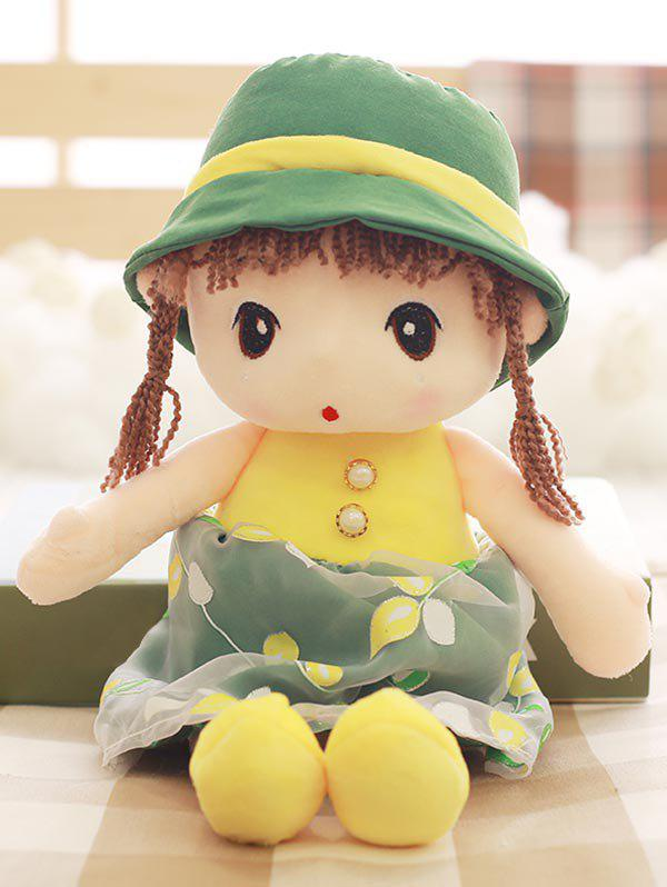 Faux Pearl Dress Girl Shaped Plush Toy - GREEN
