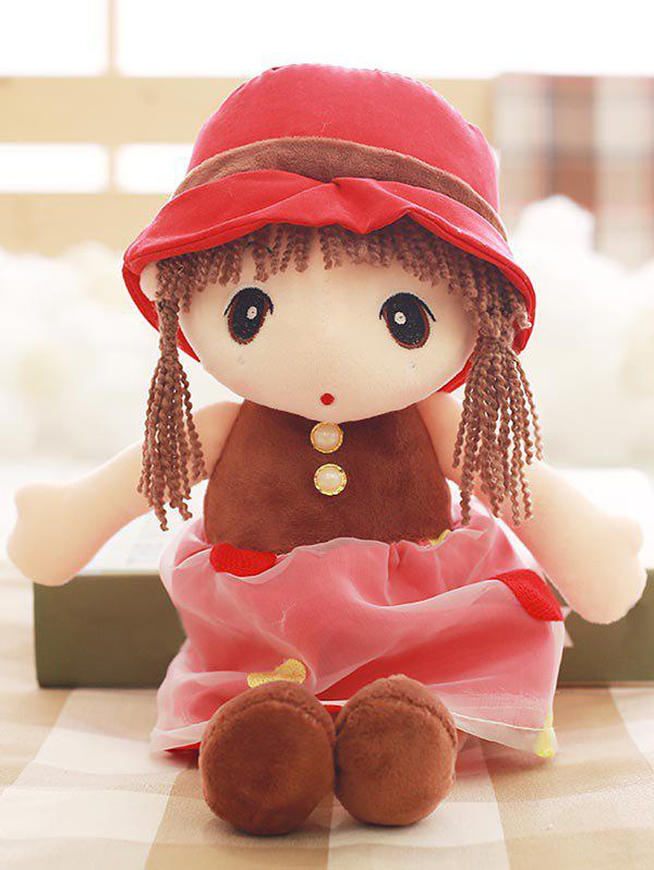 Faux Pearl Dress Girl Shaped Plush Toy - RED