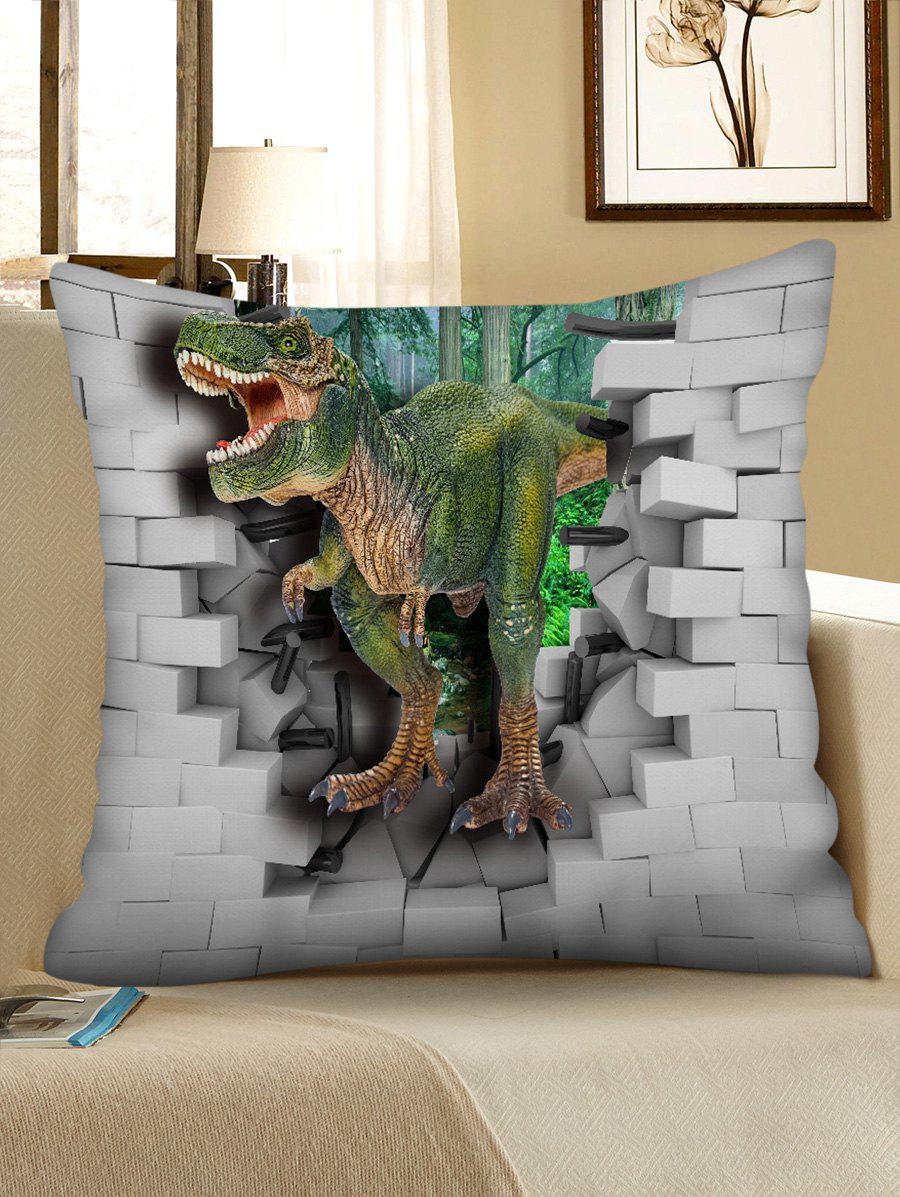 3D Dinosaur Broken Wall Print Decorative Sofa Pillowcase - MEDIUM FOREST GREEN W18 INCH * L18 INCH