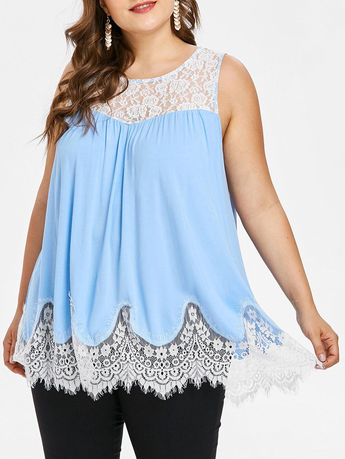 Plus Size Lace Up Tank Top - SKY BLUE 1X