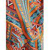 Color Block Ethnic Print Plus Size Blouse - multicolor 3X