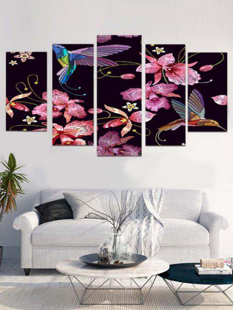 Flower And Bird Print Unframed Canvas Paintings - multicolor 1PC:12*31,2PCS:12*16,2PCS:12*24 INCH( NO FRAME )