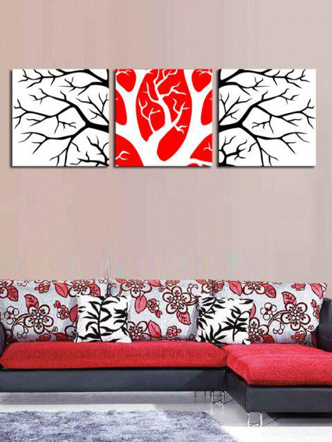 Wall Art Split Branches Pattern Canvas Paintings - multicolor 3PCS:20*20 INCH( NO FRAME )