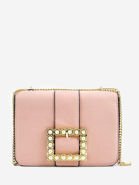 Faux Pearl Crystal Buckled Chic Chain Crossbody Bag - PINK