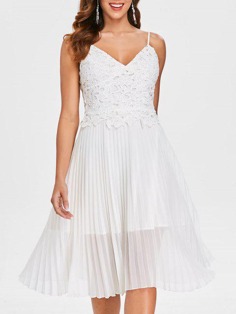 Lace Panel Cami Strap Chiffon Pleated Dress - MILK WHITE L
