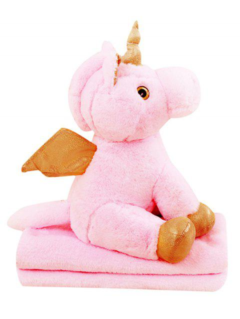 Unicorn Shaped Plush Toy with Blanket - PINK