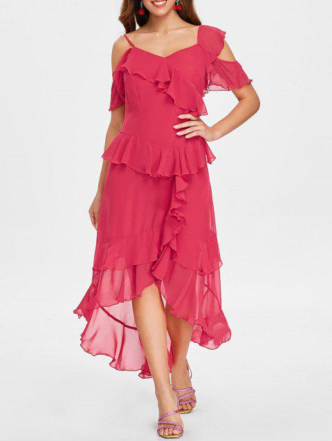 Faux Wrap High Low Layered Ruffle Midi Dress - RED M