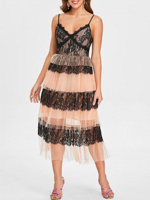 Lace Mesh Panel V Neck Layered Dress - BLACK M