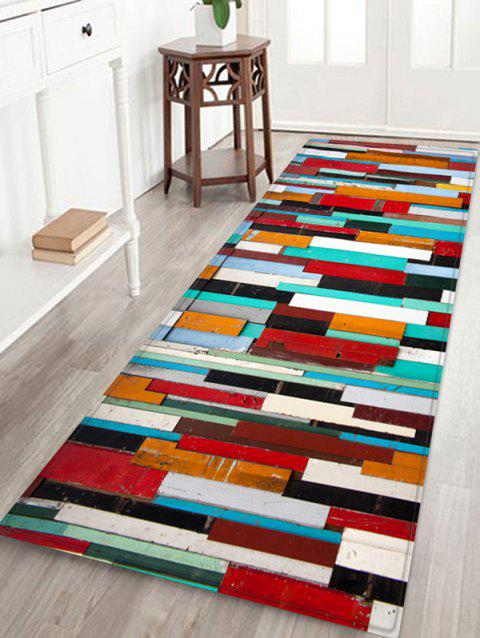 Colorful Wood Print Skidproof Area Mat - multicolor W24 INCH * L71 INCH