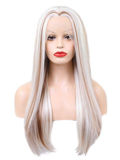 Long Center Parting Straight Colormix Party Lace Front Synthetic Wig - multicolor