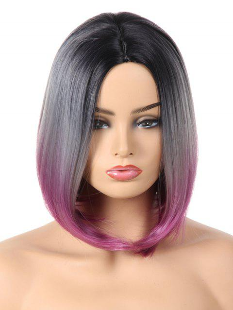 Medium Center Parting Ombre Straight Bob Synthetic Party Wig - MEDIUM VIOLET RED 14INCH