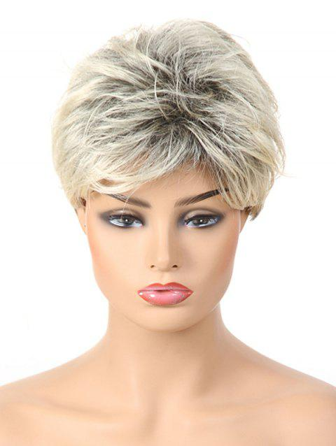 Short Inclined Bang Layer Colormix Straight Synthetic Wig - multicolor B 8INCH