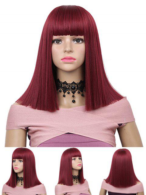 Medium Full Bang Blunt Straight Capless Synthetic Wig - RED WINE 14INCH