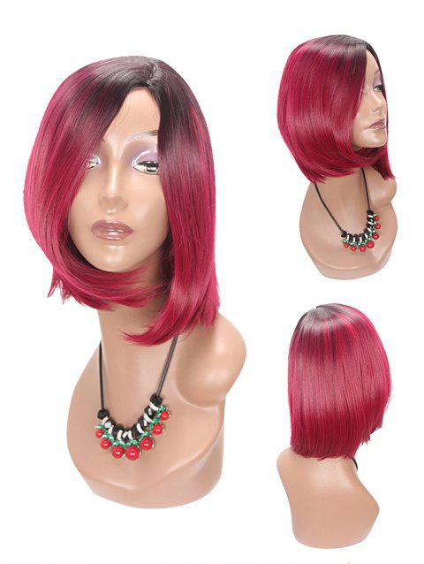 Medium Side Parting Asymmetric Straight Bob Colormix Synthetic Wig - multicolor