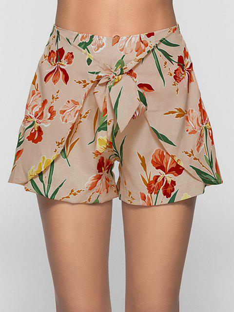 Print High Waisted Overlap Shorts - LIGHT KHAKI M