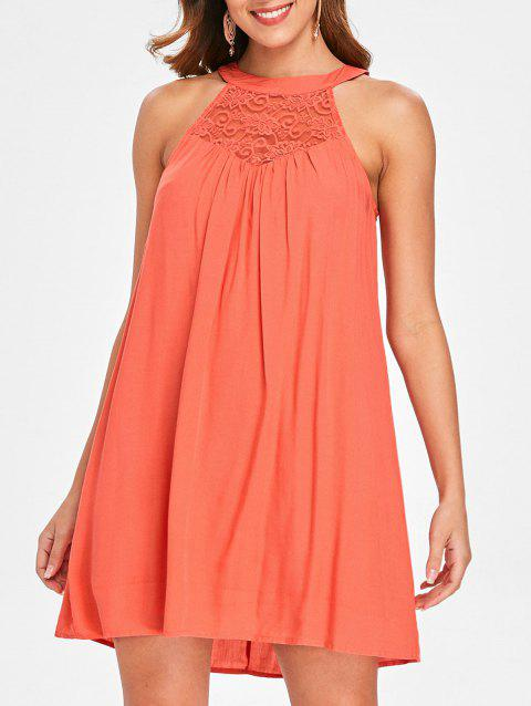Bib Neck Lace Insert Dress - ORANGE XL