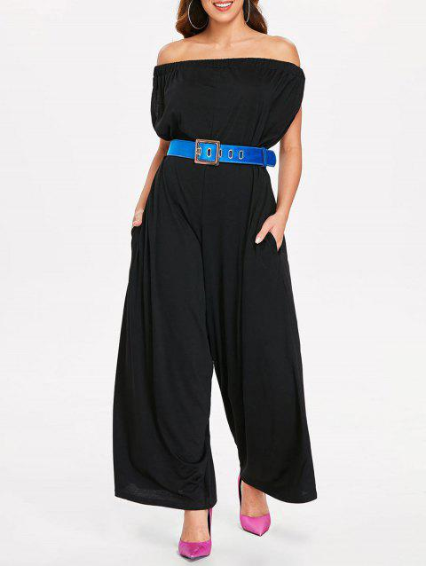 Elastic Off The Shoulder Jumpsuit - BLACK XL