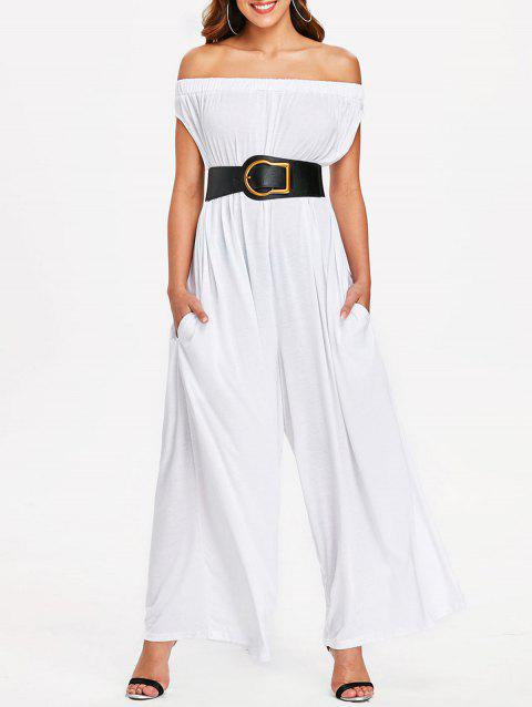 Elastic Off The Shoulder Jumpsuit - WHITE S