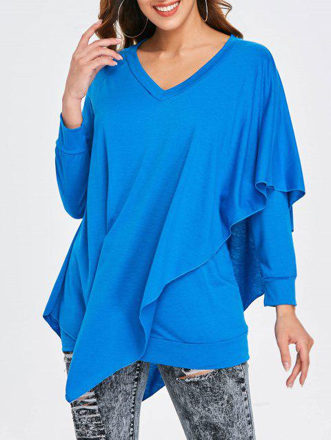 V Neck Overlay T-shirt - BLUE M