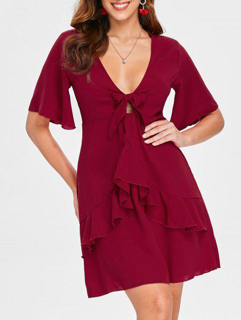 Cut Out Ruffle Low Cut Dress - RED WINE S
