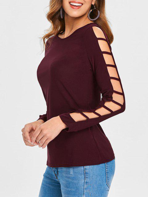 Shredding Cut Sleeve Top - RED WINE S