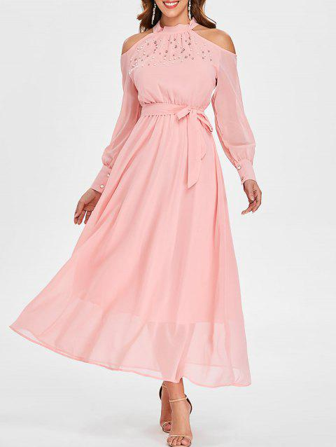 Faux Pearl Cuff Sleeve Long Chiffon Dress - PINK 2XL