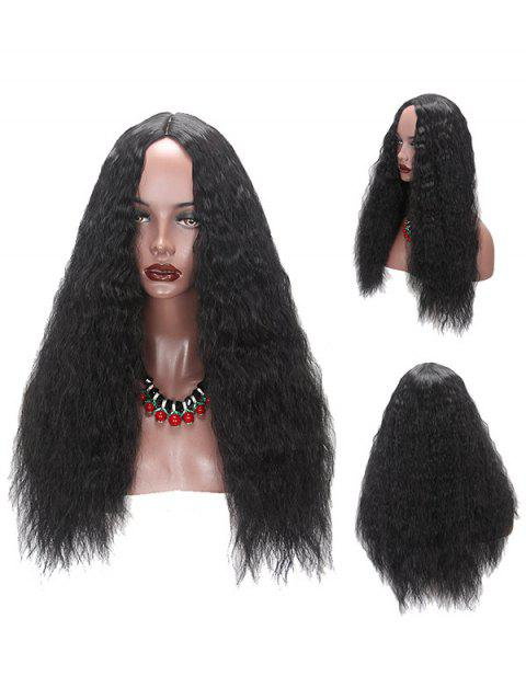 Long Middle Part Fluffy Corn Hot Curly Synthetic Wig - BLACK