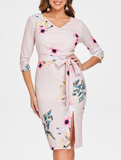 Floral Print Bowknot Pencil Dress - LIGHT PINK L