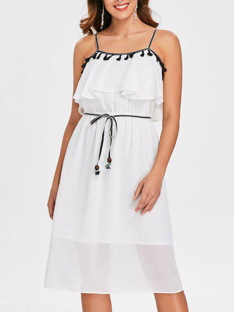 Spaghetti Strap Popover Dress with Tassel - MILK WHITE L