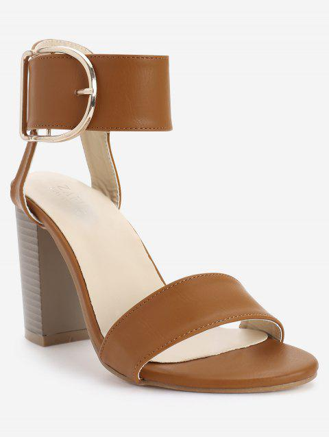 Block Heel Metal D Shaped Buckled Sandals - LIGHT BROWN 40