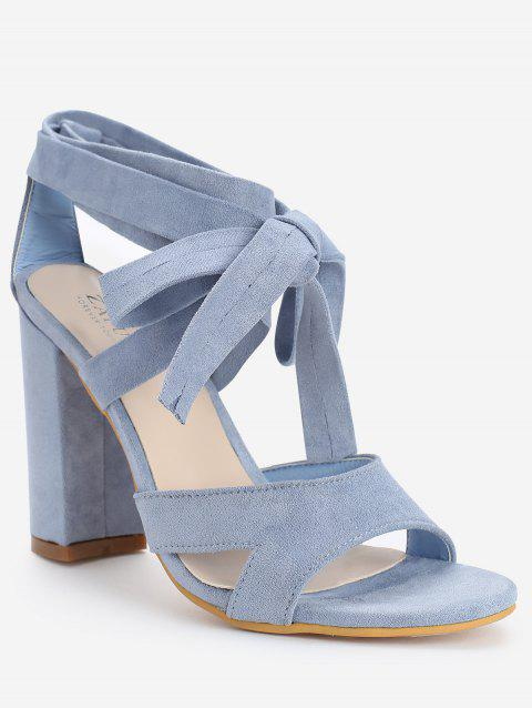 Chunky Heel Hollow Out Lace Up Sandals - LIGHT BLUE 40