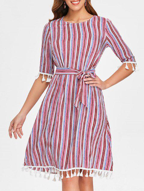 Stripe Tassels Belted Dress - multicolor L