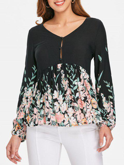 Buton Up Flowy Blouse - BLACK XL