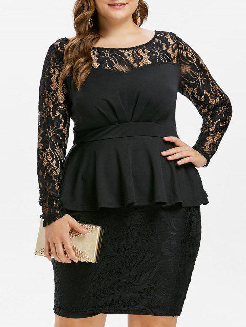 41% OFF] 2019 Bodycon Plus Size Lace Insert Peplum Dress In BLACK ...