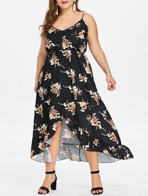 Plus Size Sleeveless Floral High Low Dress - BLACK 3X