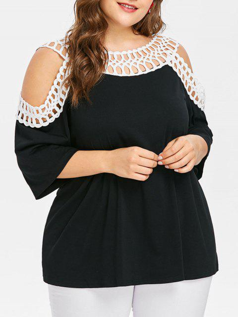 Plus Size Open Shoulder Two Tone T-shirt - BLACK 4X
