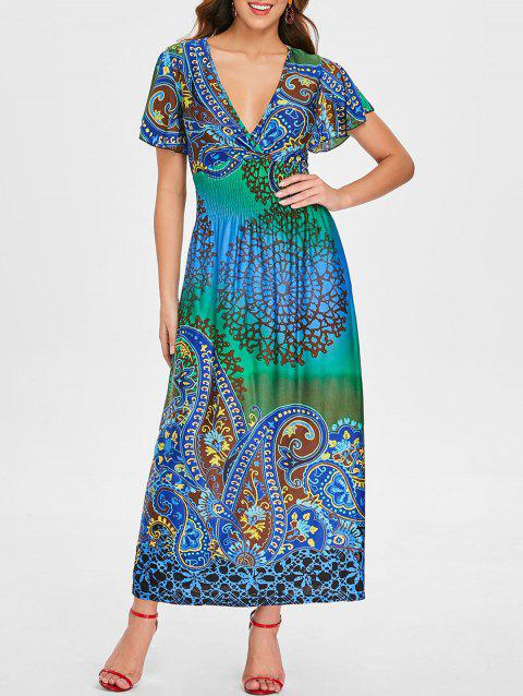Plunge Tribal Print Empire Waist Maxi Dress - multicolor L