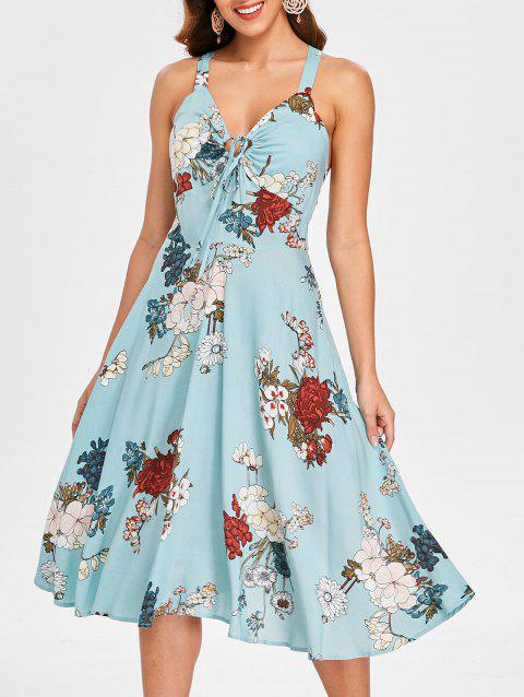 Sleeveless Print A Line Dress - CORAL BLUE M
